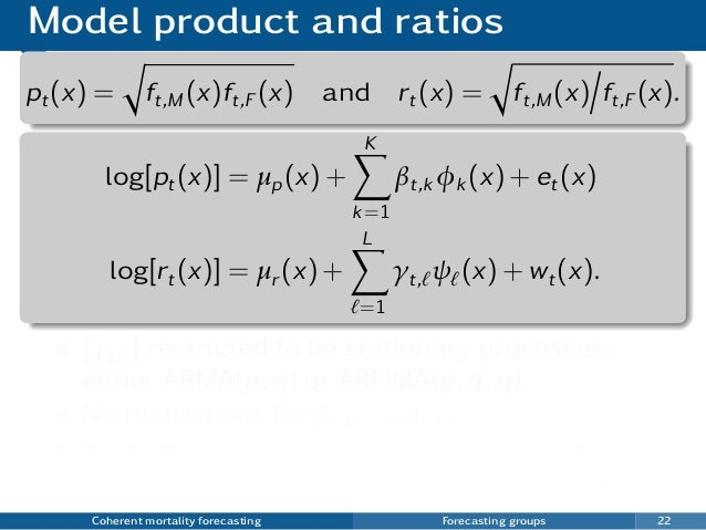 Model product and ratios pt(x) = ft,M (x)ft,F (x) and rt(x) = ft,M (x) ft,F (x). log[pt(x)] = µp(x) + K k=1 βt,k φk (x) + ...