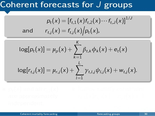 Coherent forecasts for J groups pt(x) = [ft,1(x)ft,2(x)···ft,J (x)]1/J and rt,j (x) = ft,j (x) pt(x), log[pt(x)] = µp(x) +...