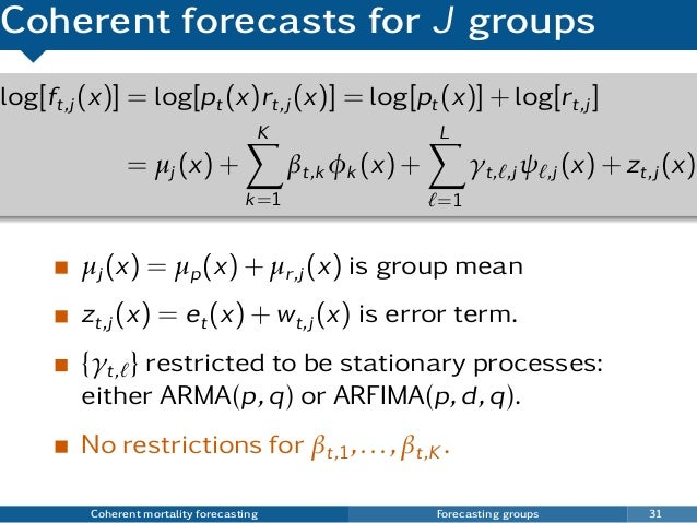Coherent forecasts for J groups µj (x) = µp(x) + µr,j (x) is group mean zt,j (x) = et(x) + wt,j (x) is error term. {γt, } ...