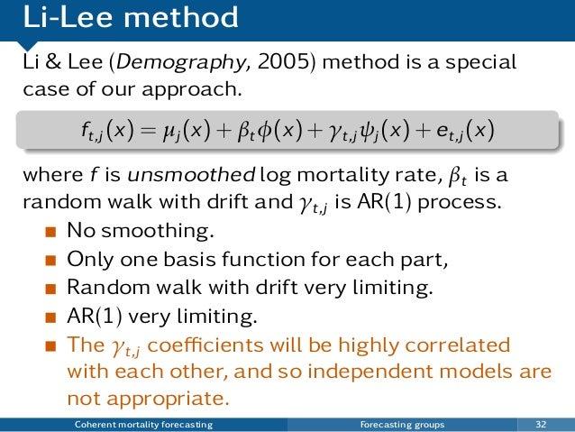 Li-Lee method Li & Lee (Demography, 2005) method is a special case of our approach. ft,j (x) = µj (x) + βtφ(x) + γt,j ψj (...