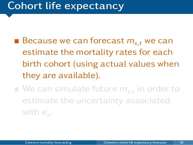 Cohort life expectancy Because we can forecast mx,t we can estimate the mortality rates for each birth cohort (using actua...
