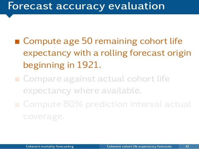 Forecast accuracy evaluation Compute age 50 remaining cohort life expectancy with a rolling forecast origin beginning in 1...
