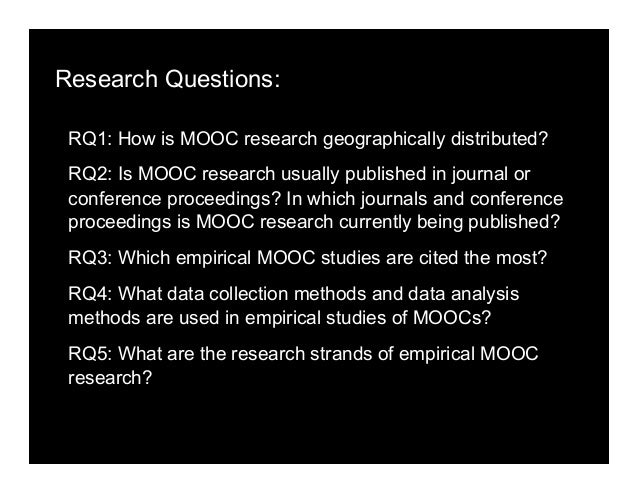 Research Questions: RQ1: How is MOOC research geographically distributed? RQ2: Is MOOC research usually published in journ...