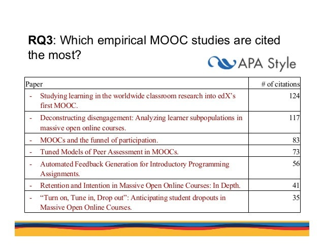 RQ3: Which empirical MOOC studies are cited the most? Paper # of citations - Studying learning in the worldwide classroom...