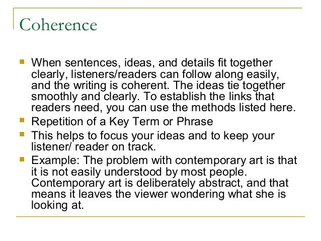 Coherence in writing a paragraph anchor