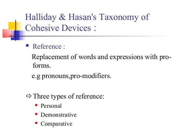 Halliday & Hasans Taxonomy ofCohesive Devices :   Reference :    Replacement of words and expressions with pro-    forms....