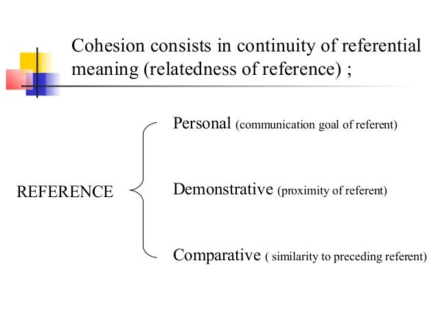 Cohesion consists in continuity of referential     meaning (relatedness of reference) ;                  Personal (communi...