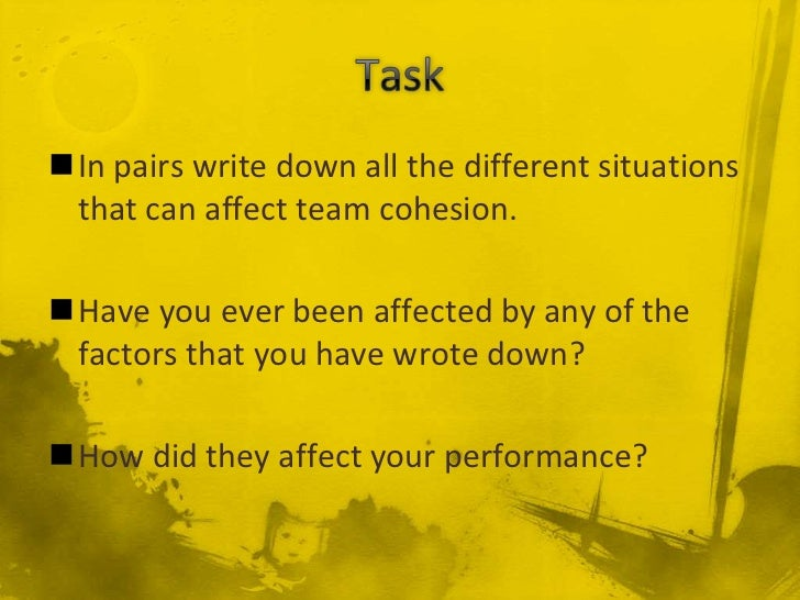In pairs write down all the different situations that can affect team cohesion.Have you ever been affected by any of the...