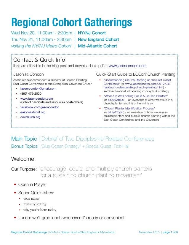 Regional Cohort Gatherings Wed Nov 20, 11:00am - 2:30pm | NY/NJ Cohort Thu Nov 21, 11:00am - 2:30pm | New England Coho...