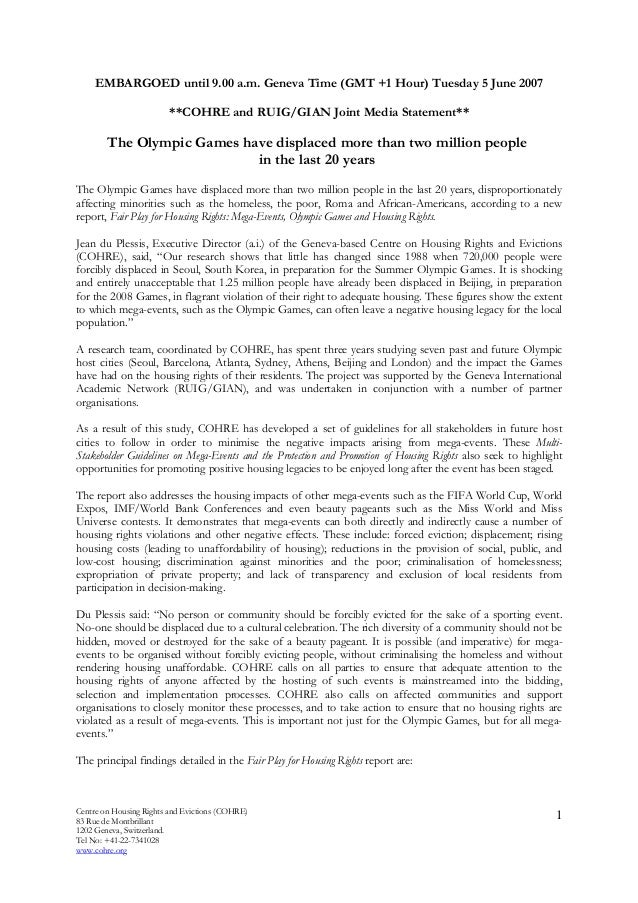 Centre on Housing Rights and Evictions (COHRE) 83 Rue de Montbrillant 1202 Geneva, Switzerland. Tel No: +41-22-7341028 www...