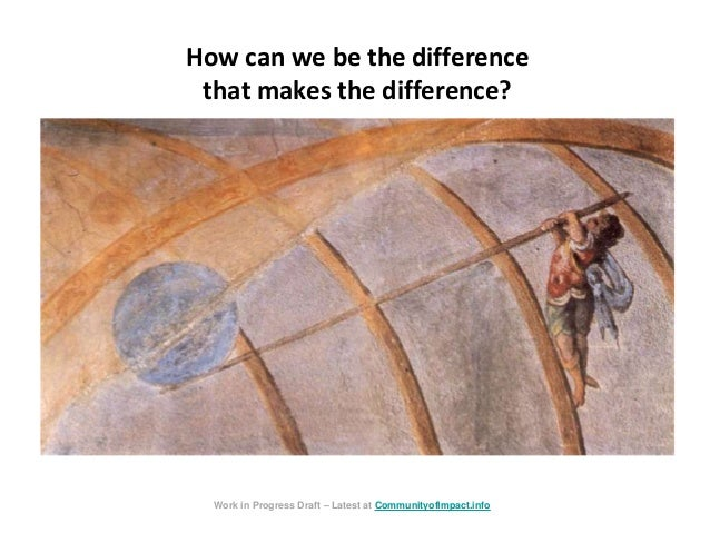 How can we be the difference that makes the difference? Work in Progress Draft – Latest at CommunityofImpact.info
