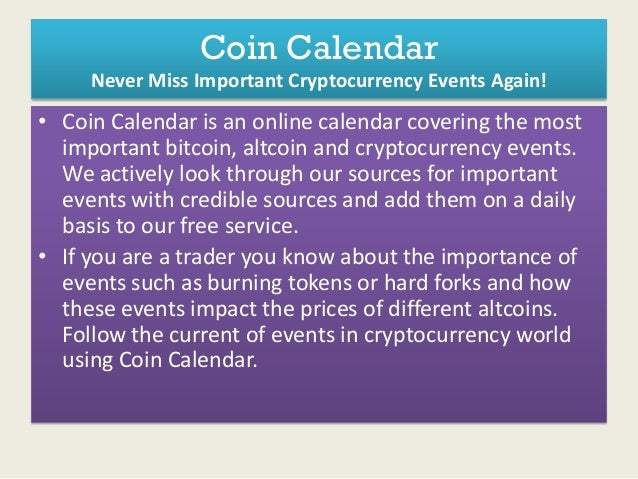 Cryptocurrency upcoming event for each coin
