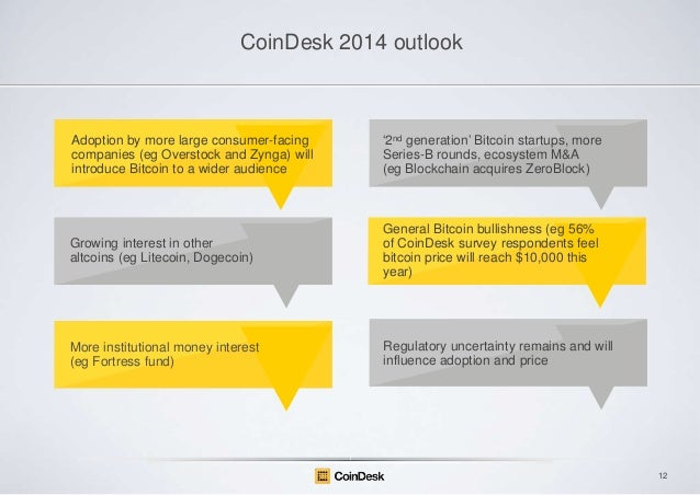 CoinDesk 2014 outlook  Adoption by more large consumer-facing companies (eg Overstock and Zynga) will introduce Bitcoin to...