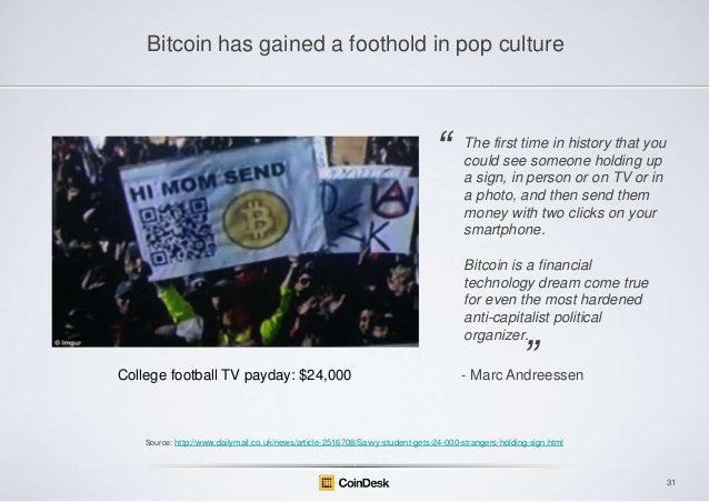 Bitcoin has gained a foothold in pop culture  ―  The first time in history that you could see someone holding up a sign, i...