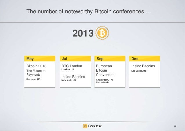 The number of noteworthy Bitcoin conferences …  2013 May  Jul  Sep  Dec  Bitcoin 2013  BTC London  Inside Bitcoins  The Fu...
