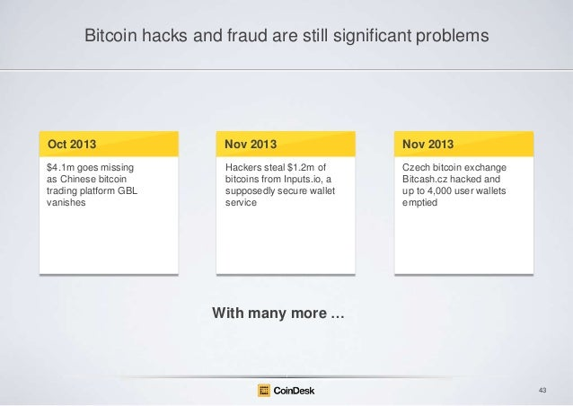 Bitcoin hacks and fraud are still significant problems  Oct 2013  Nov 2013  Nov 2013  $4.1m goes missing as Chinese bitcoi...