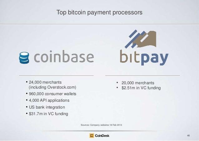 Top bitcoin payment processors  • 24,000 merchants (including Overstock.com)  • •  20,000 merchants $2.51m in VC funding  ...