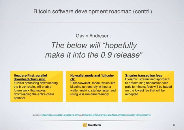Bitcoin software development roadmap (contd.)  Gavin Andresen:  The below will ―hopefully make it into the 0.9 release‖ He...