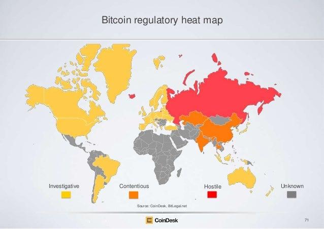 Bitcoin regulatory heat map  Investigative  Contentious  Hostile  Unknown  Source: CoinDesk, BitLegal.net  71