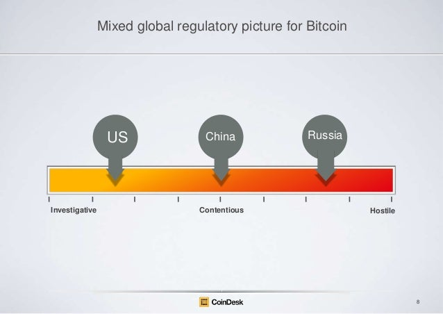 Mixed global regulatory picture for Bitcoin  US  Investigative  China  Contentious  Russia  Hostile  8