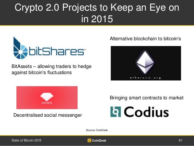 Crypto 2.0 Projects to Keep an Eye on in 2015 61State of Bitcoin 2015 BitAssets – allowing traders to hedge against bitcoi...