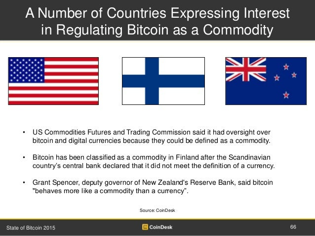 A Number of Countries Expressing Interest in Regulating Bitcoin as a Commodity 66State of Bitcoin 2015 • US Commodities Fu...