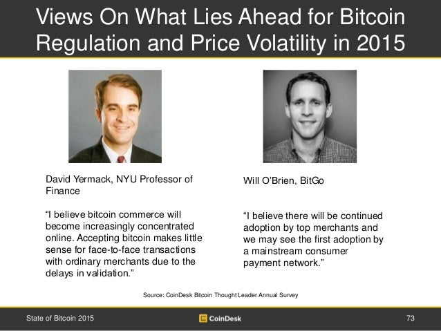 Views On What Lies Ahead for Bitcoin Regulation and Price Volatility in 2015 73State of Bitcoin 2015 Source: CoinDesk Bitc...