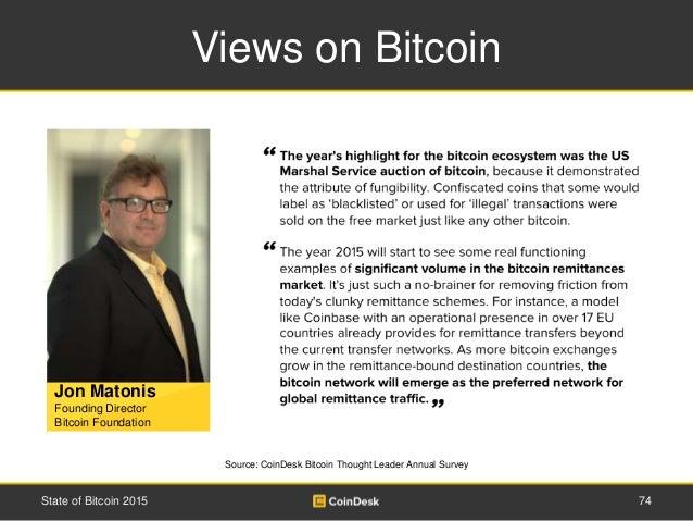 Views on Bitcoin 74State of Bitcoin 2015 Jon Matonis Founding Director Bitcoin Foundation Source: CoinDesk Bitcoin Thought...