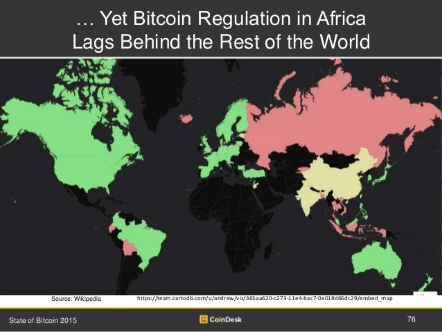 … Yet Bitcoin Regulation in Africa Lags Behind the Rest of the World 76State of Bitcoin 2015 Source: Wikipedia https://tea...