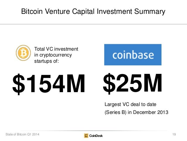 $154M $25M Total VC investment in cryptocurrency startups of: Bitcoin Venture Capital Investment Summary Largest VC deal t...