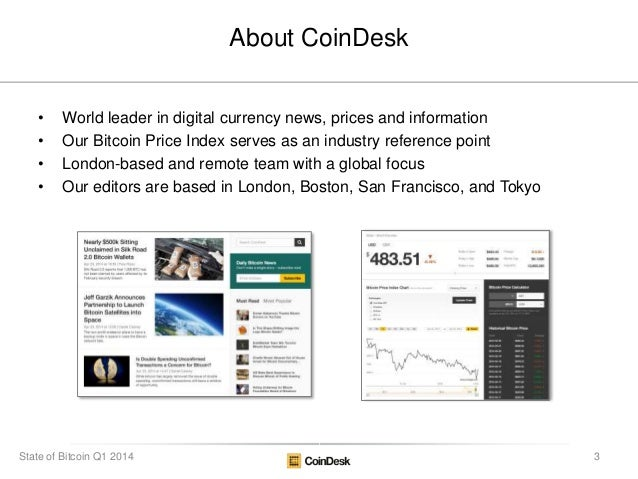 About CoinDesk • World leader in digital currency news, prices and information • Our Bitcoin Price Index serves as an indu...