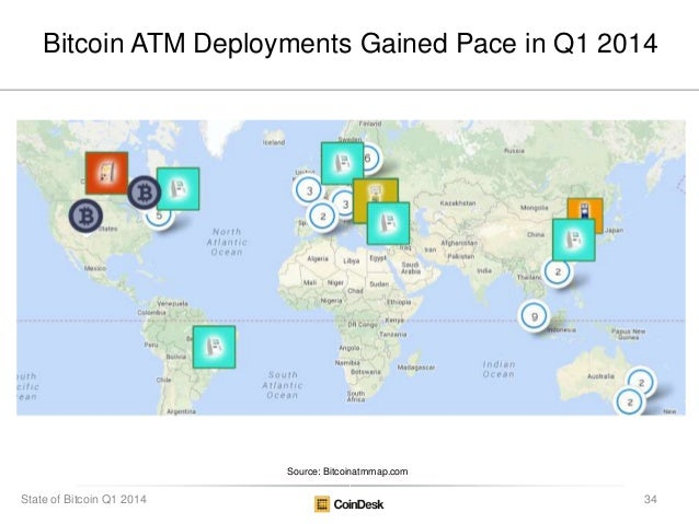 Bitcoin ATM Deployments Gained Pace in Q1 2014 Source: Bitcoinatmmap.com 34State of Bitcoin Q1 2014