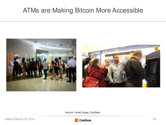 ATMs are Making Bitcoin More Accessible Source: Tomas Forgac, CoinDesk 35State of Bitcoin Q1 2014