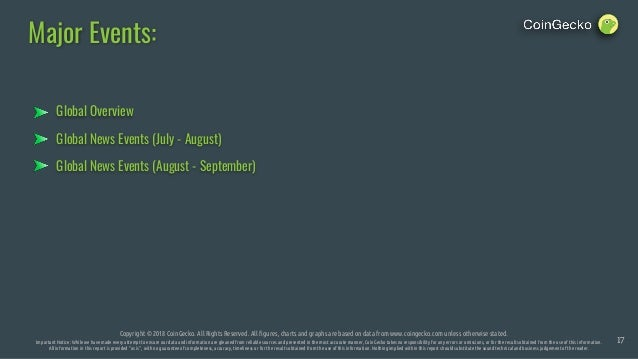 Global News Events (July - August) Major Events: Copyright © 2018 CoinGecko. All Rights Reserved. All figures, charts and ...