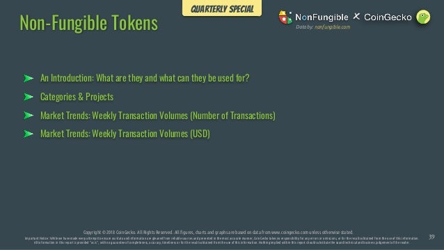 An Introduction: What are they and what can they be used for? Non-Fungible Tokens Copyright © 2018 CoinGecko. All Rights R...