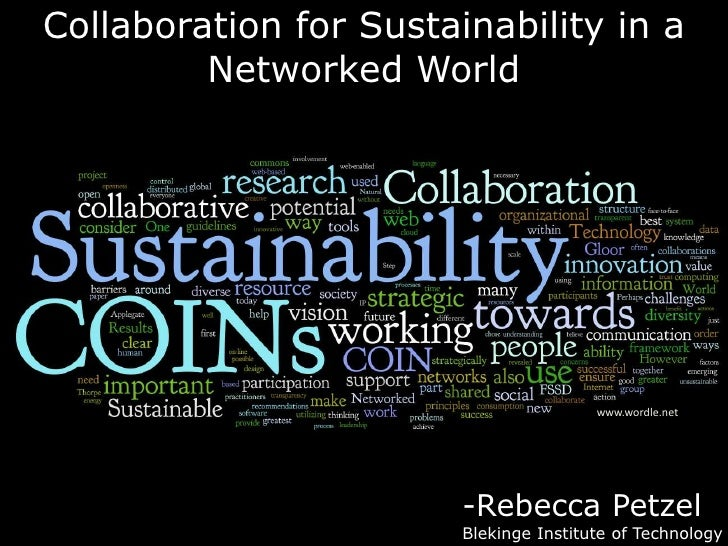 Collaboration for Sustainability in a Networked World<br />www.wordle.net<br />-Rebecca Petzel<br />Blekinge Institute of ...