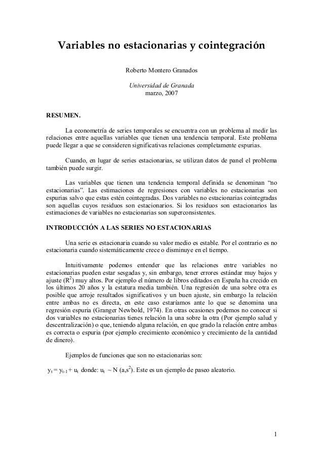 Variables no estacionarias y cointegración                               Roberto Montero Granados                         ...