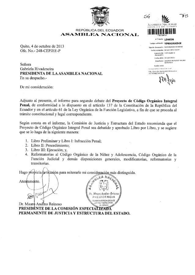 REPÚBLICA DEL ECUADOR ASAN{BI-IIA IACI O F,I*I- Quito, 4 de octubre de 2013 Ofc. No.- 248-CEPJEE-P Señora Gabriela Rivaden...