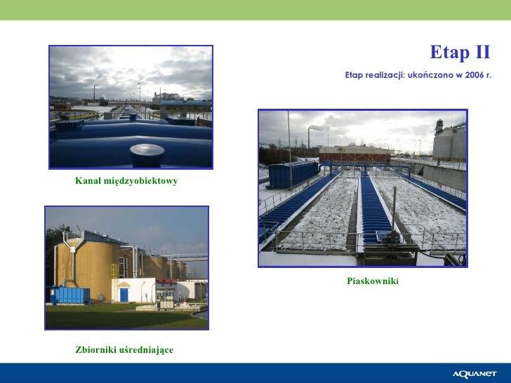 Piaskownik i Kanał międzyobiektowy Zbiorniki uśredniające   Etap realizacji: ukończono w 2006 r. Etap II