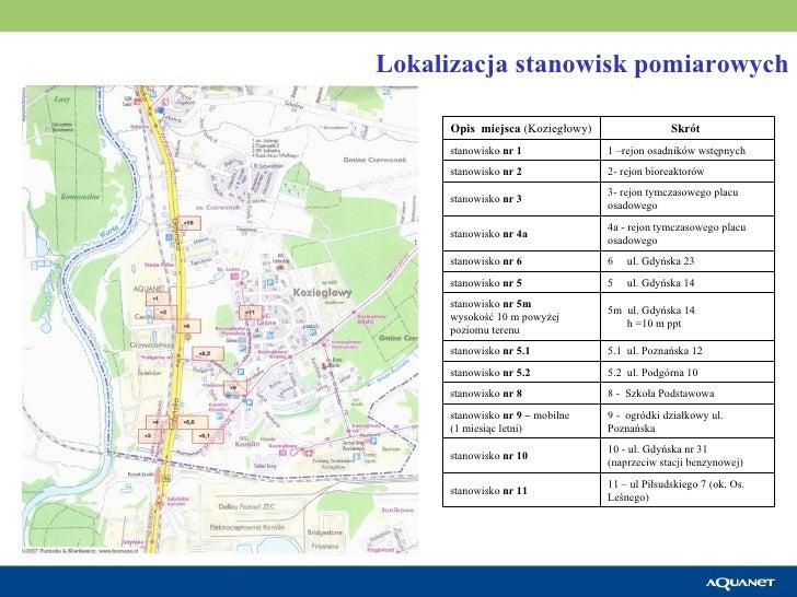 Lokalizacja stanowisk pomiarowych 11 – ul Piłsudskiego 7 (ok. Os. Leśnego) stanowisko  nr 11 10 - ul. Gdyńska nr 31 (naprz...