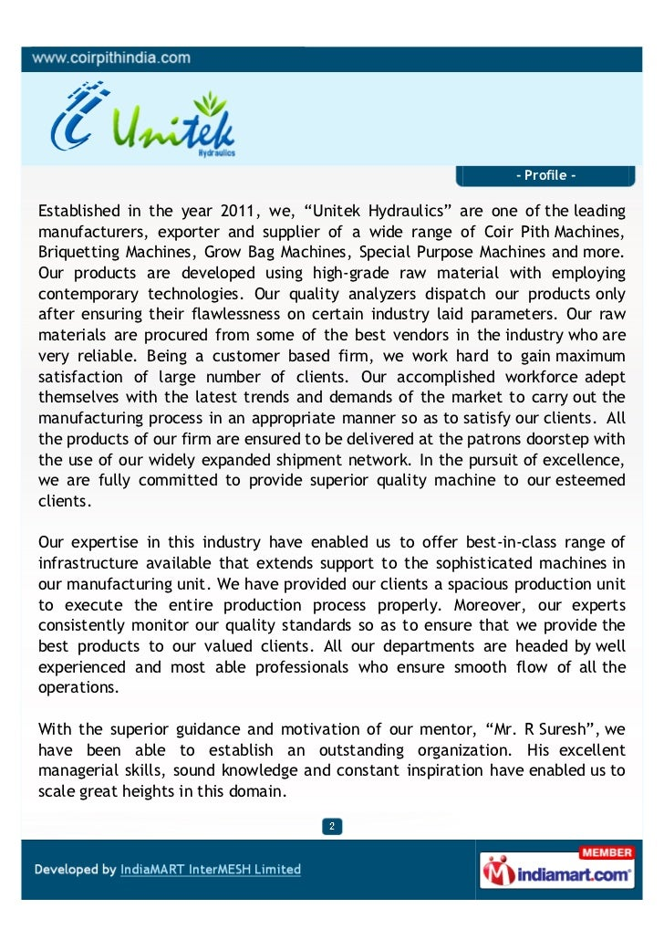 """- Profile -Established in the year 2011, we, """"Unitek Hydraulics"""" are one of the leadingmanufacturers, exporter and supplie..."""