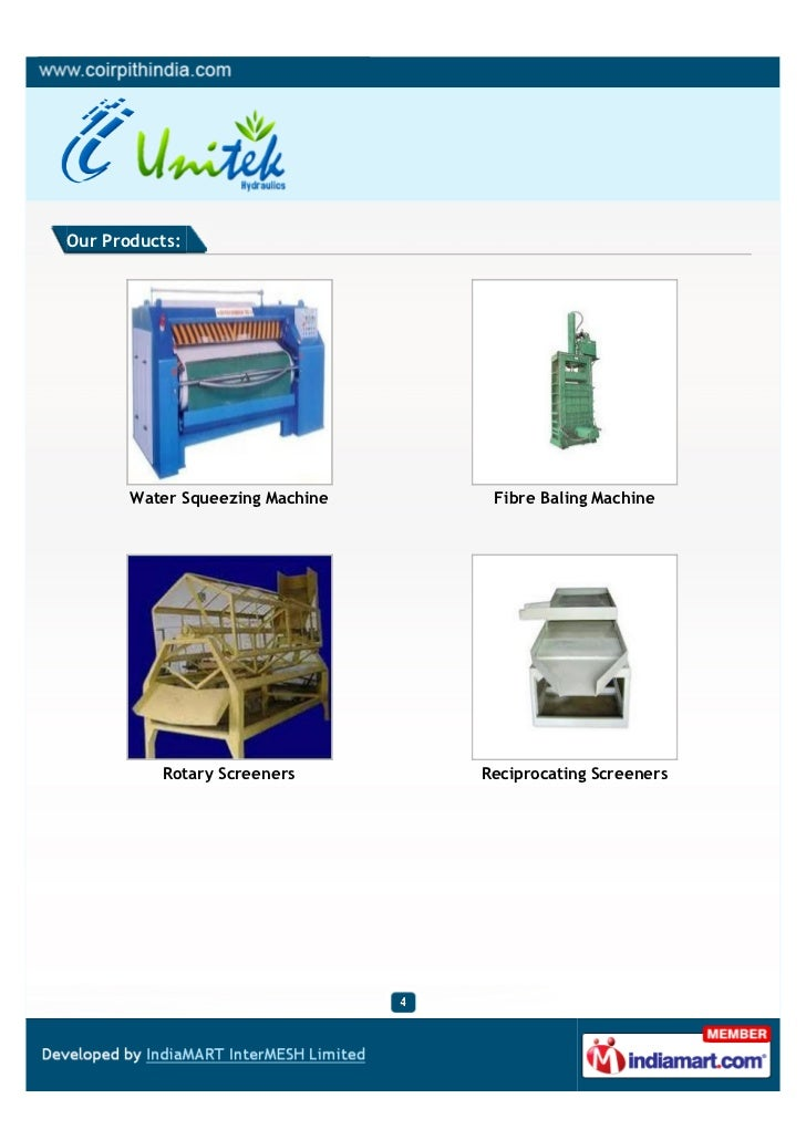 Our Products:       Water Squeezing Machine    Fibre Baling Machine          Rotary Screeners       Reciprocating Screeners