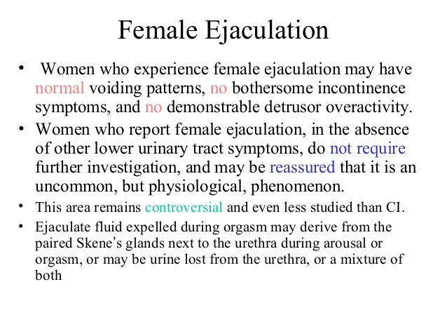 Female ejacultion