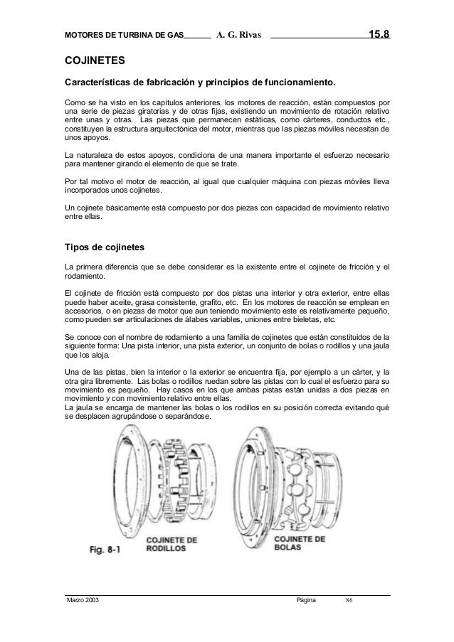 MOTORES DE TURBINA DE GAS  15.8  A. G. Rivas  COJINETES Características de fabricación y principios de funcionamiento. Com...