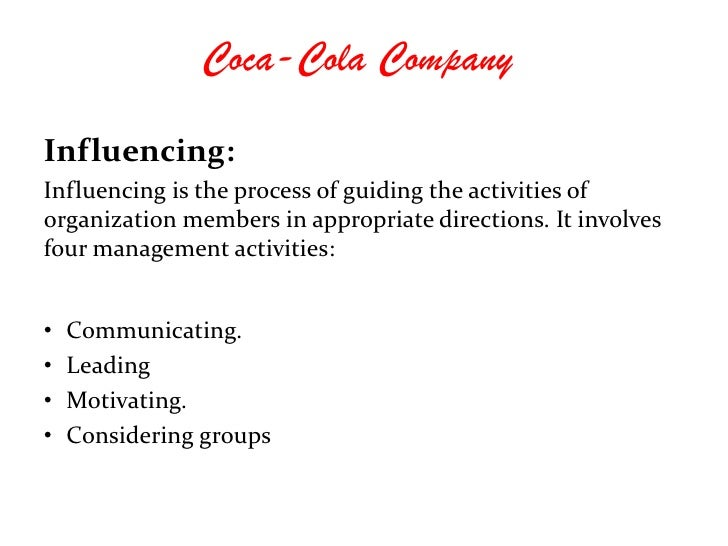core activities of coca cola Coke's quincey: need to look at core underlying business for  reins at the  world's largest beverage company, he said the future coca-cola is.