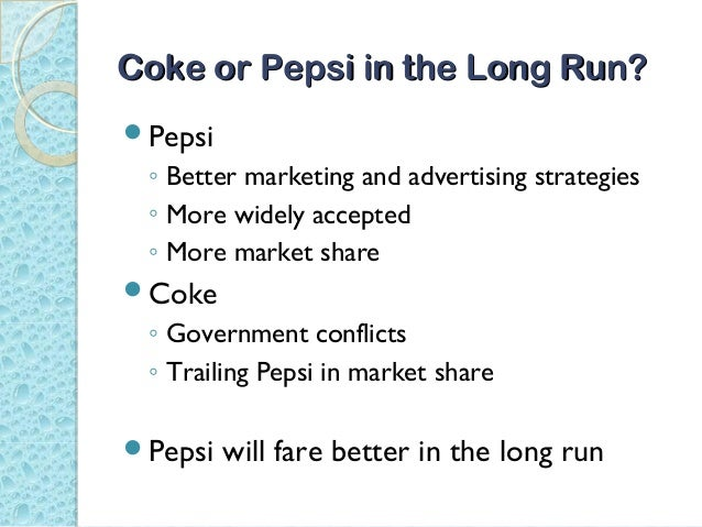 coke and pepsi in india Bengaluru: pepsi and coke bottles may disappear from shop shelves in kerala, a week after the same happened in tamil nadu kerala vyapari vyavasayi ekopana samithi (kvves), the largest apex body of traders in the state with over a million members, called for a boycott of soft drinks by pepsico india.