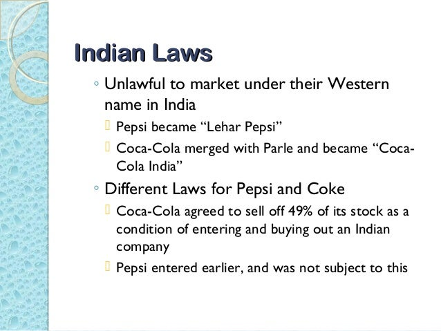 coke and pepsi learn to compete in india case study solution When the cola giants, pepsi and coke, entered the indian market, they brought with them the cola wars that had become part of global folklore this case study details the various battles fought in india by the two rivals with its focus on the publicity campaigns where the two sought to steal each other's fizz.