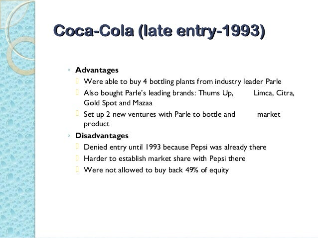 coke and pepsi learn to compete in india Case 1-3 coke and pepsi learn to compete in india the beverage battlefield in 2007, the president and ceo of coca-cola asserted that coke has had a rather rough run in india but now it seems to be getting.