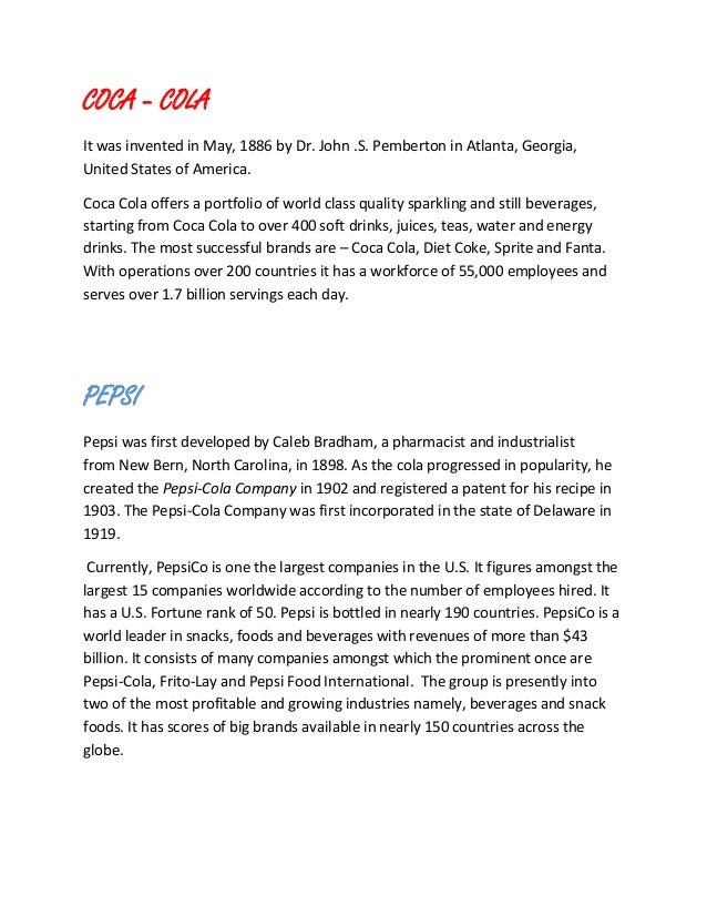 coke and pepsi case study essay How has the competition between coke and pepsi according to data in the case study most consumers in the pepsi and coke have order a similar essay.