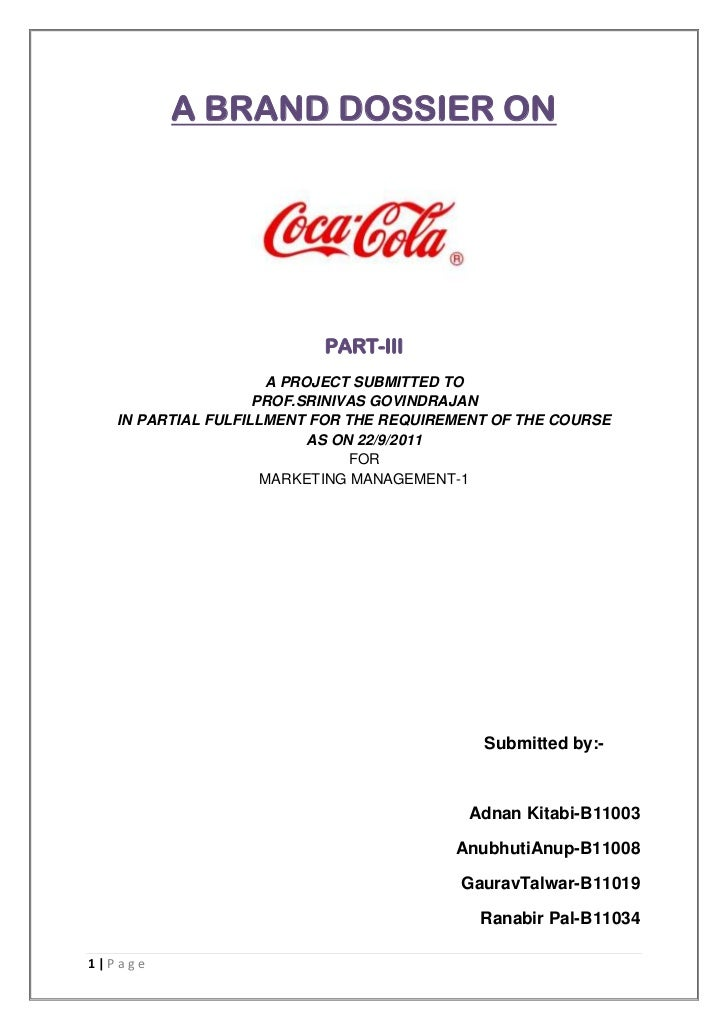A BRAND DOSSIER ON                          PART-III                     A PROJECT SUBMITTED TO                    PROF.SR...